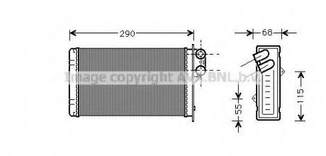 PE6100 AVA COOLING Радиатор отопителя P405/P406 ALL MT/AT 87-99 (Ava)