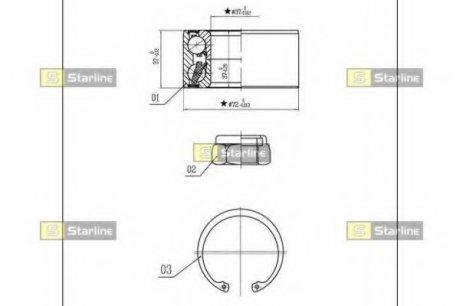 LO 03554 STARLINE Подшипник ступицы колеса, к-кт.